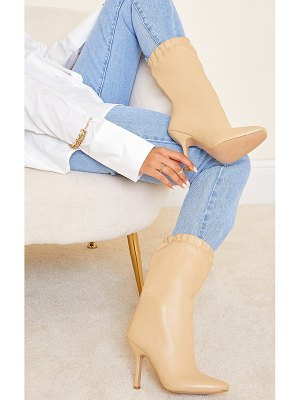 PrettyLittleThing pu elastic cuff mid heeled boots