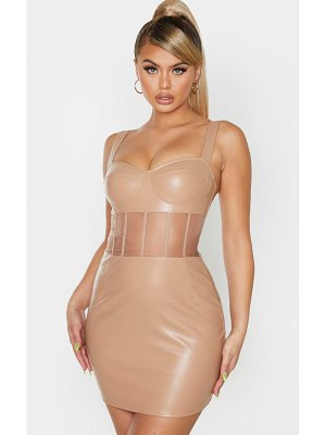 PrettyLittleThing pu mesh binding insert sleeveless bodycon dress