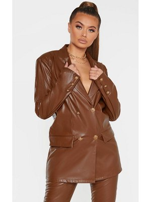 PrettyLittleThing pu oversized double breasted pocket front blazer