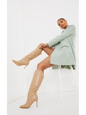 PrettyLittleThing pu point toe western high heeled boots