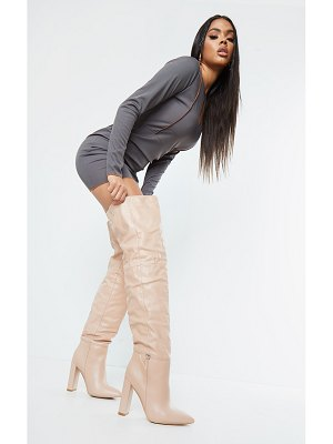PrettyLittleThing pu pointed over the knee high heeled boots
