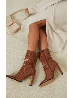 PrettyLittleThing pu snake flat heeled ankle boots