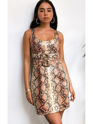 PrettyLittleThing pu snake print buckle belt sleeveless bodycon dress