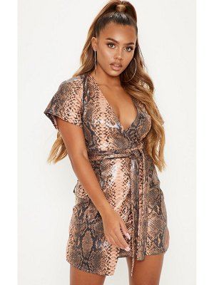 PrettyLittleThing pu snake print wrap bodycon dress