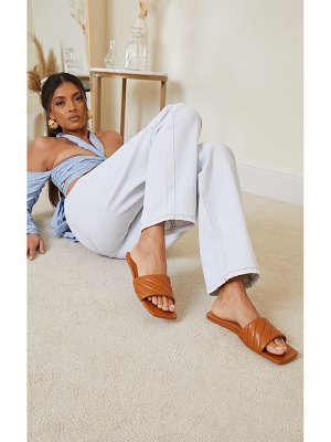 PrettyLittleThing pu square toe curve quilted mule sandals