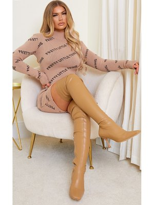 PrettyLittleThing pu square toe over the knee boots