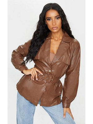 PrettyLittleThing pu trenched panelled belted blazer