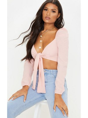 PrettyLittleThing puff long sleeve tie crop blouse