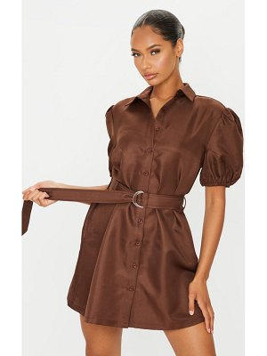 PrettyLittleThing puff sleeve belted shirt dress