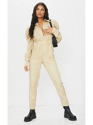 PrettyLittleThing puff sleeve button shirt jumpsuit