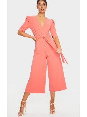 PrettyLittleThing puff sleeve culotte jumpsuit