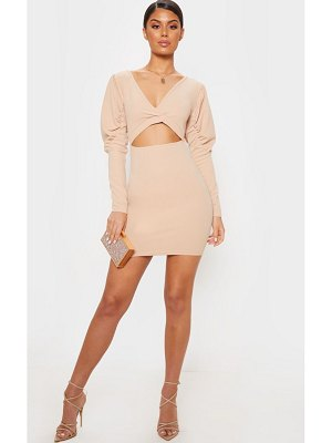 PrettyLittleThing puff sleeve cut out bodycon dress