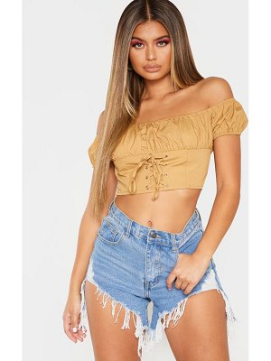 PrettyLittleThing puff sleeve lace up crop top