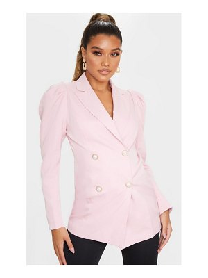 PrettyLittleThing puff sleeve pearl button fitted blazer