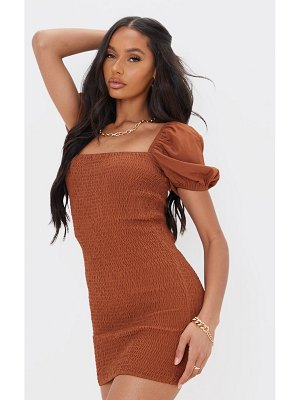 PrettyLittleThing puff sleeve square neck shirred bodycon dress