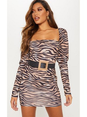 PrettyLittleThing puff sleeve tiger print bodycon dress