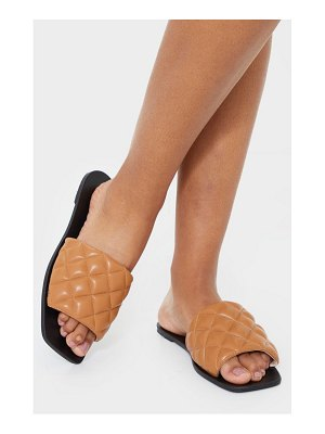 PrettyLittleThing quilted square toe mule sandals