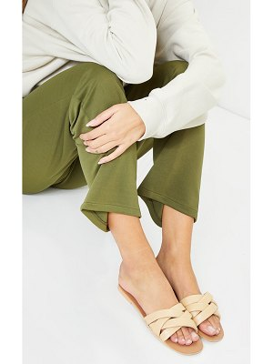 PrettyLittleThing real leather quilted cross over strap mule sandals