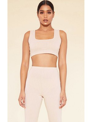 PrettyLittleThing recycled deep nude pinstripe square neck crop top