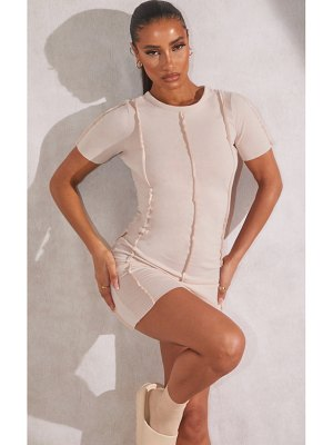 PrettyLittleThing recycled jersey raw seam short sleeve bodycon dress