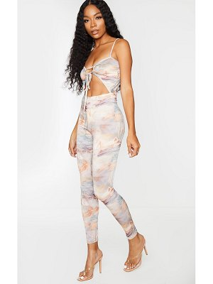 PrettyLittleThing renaissance print strappy ruched front jumpsuit