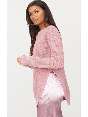 PrettyLittleThing rexx round neck side split sweater