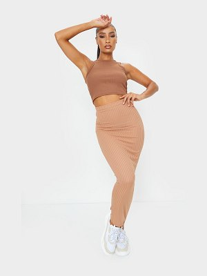 PrettyLittleThing rib bodycon maxi skirt