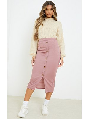 PrettyLittleThing rib button front midaxi skirt
