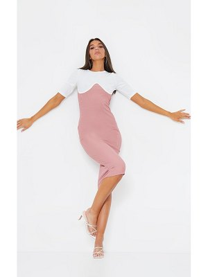 PrettyLittleThing rib contrast bust detail midi dress
