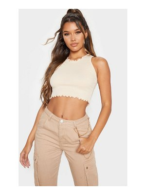 PrettyLittleThing rib frill detail high neck crop top