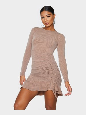 PrettyLittleThing rib frill hem long sleeve bodycon dress