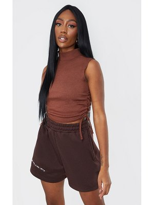 PrettyLittleThing rib high neck sleeveless drawstring side crop top
