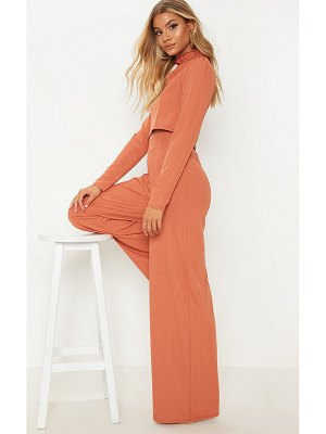 PrettyLittleThing rib high waisted wide leg pants
