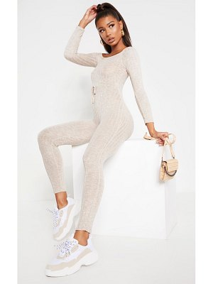 PrettyLittleThing rib knitted bardot jumpsuit