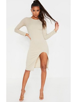 PrettyLittleThing rib long sleeve split front midi dress