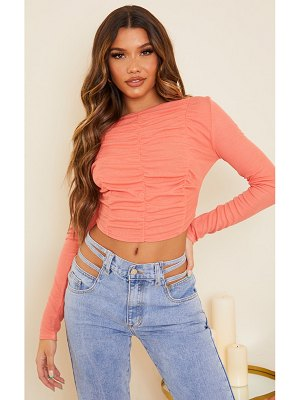 PrettyLittleThing rib multi ruched long sleeve crop top