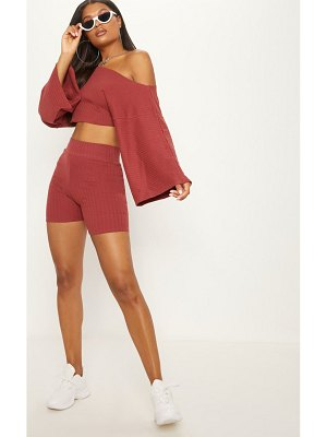 PrettyLittleThing rib off the shoulder crop top