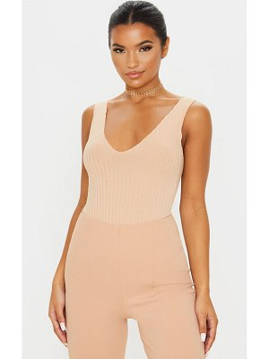 PrettyLittleThing rib plunge raw edge bodysuit