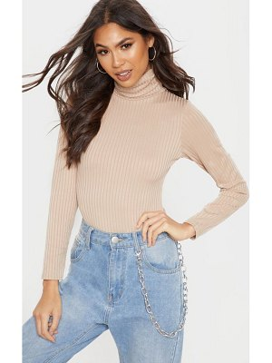 PrettyLittleThing rib roll neck long sleeve bodysuit