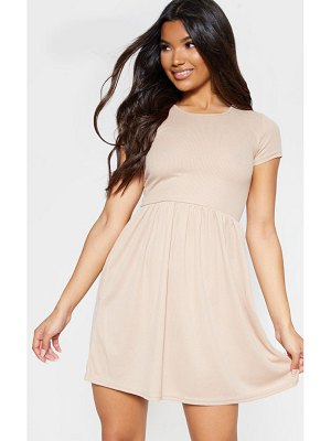 PrettyLittleThing rib short sleeve smock dress