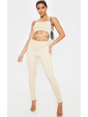 PrettyLittleThing rib strappy cut out jumpsuit