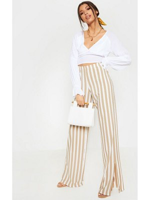 PrettyLittleThing rib stripe split hem wide leg pants