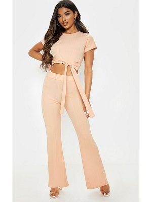 PrettyLittleThing rib tie detail top and pant set