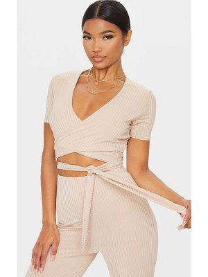 PrettyLittleThing rib tie front wrap over crop top