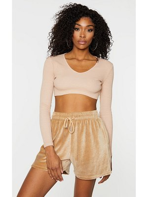PrettyLittleThing rib v neck long sleeve crop top