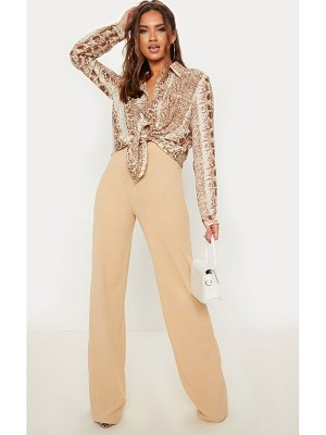 PrettyLittleThing rib wide leg pants