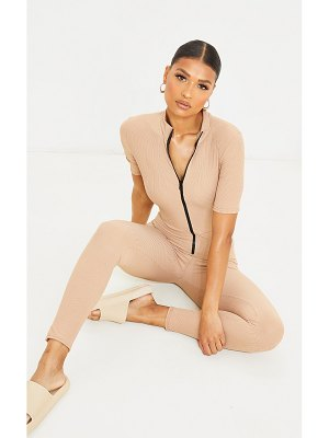 PrettyLittleThing rib zip front short sleeve catsuit