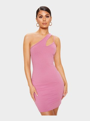PrettyLittleThing ribbed asymmetric strap bodycon dress
