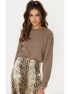 PrettyLittleThing ribbed balloon sleeve cropped sweater