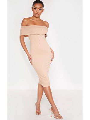 PrettyLittleThing ribbed bardot midi dress